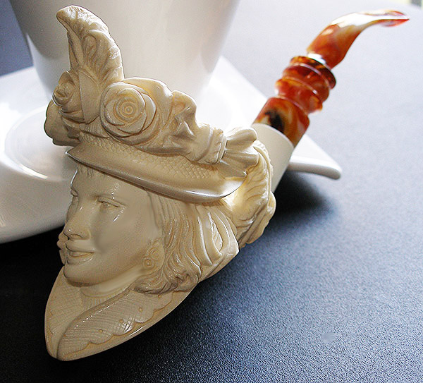 Victorian Lady Meerschaum Pipe by Tekin |GOLDEN SERIES