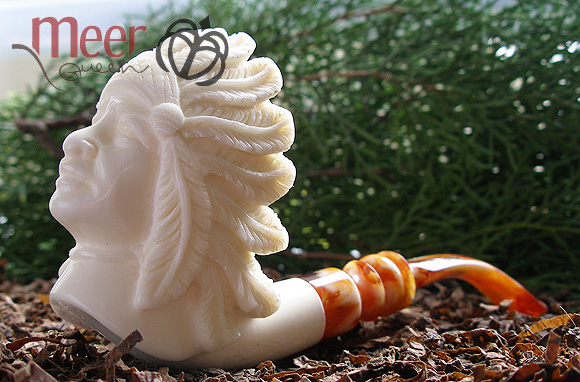 Apache Meerschaum Pipe by Tekin |GOLDEN SERIES