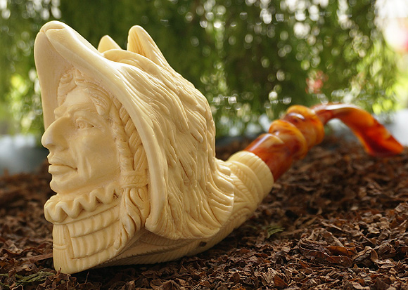 Indian with  Wolf Head Meerschaum Pipe