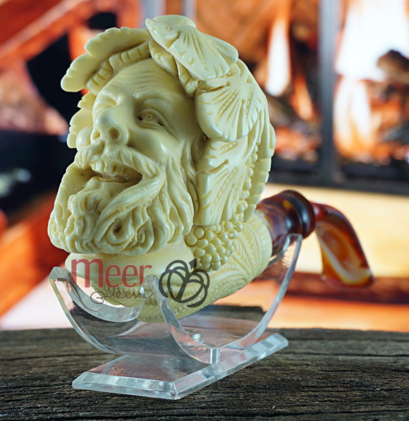 Bacchus Block Meerschaum Pipe|Double Stem by Medet