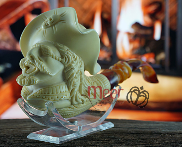 Pirate Block Meerschaum Pipe by Medet|Double Stem |GOLDEN SERIES
