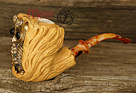 Owl Block Meerschaum Pipe |GOLDEN SERIES