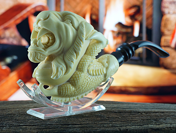 Tiger with Claw Block Meerschaum Pipe|Double Stem by Medet |GOLDEN SERIES