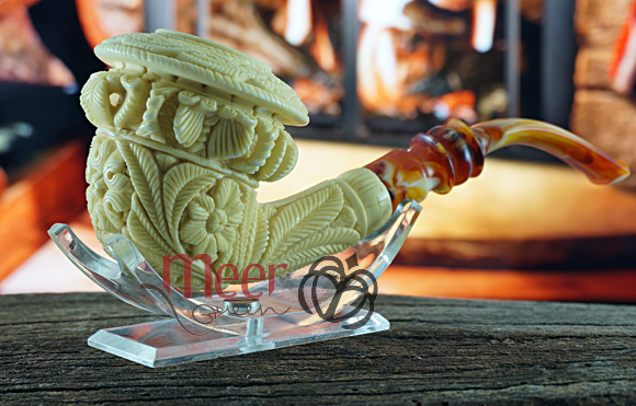 Topkapi Calabash Block Meerschaum pipe|Double Stem |GOLDEN SERIES