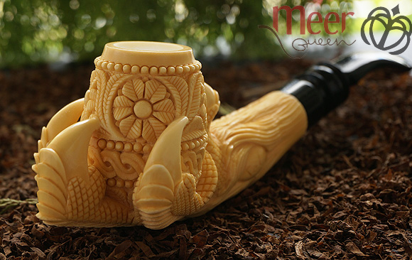 Floral Claw Block Meerschaum Pipe by Tekin