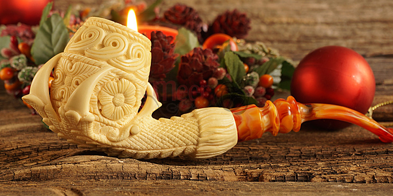 Floral Claw Block Meerschaum Pipe by Medet |Double Stem