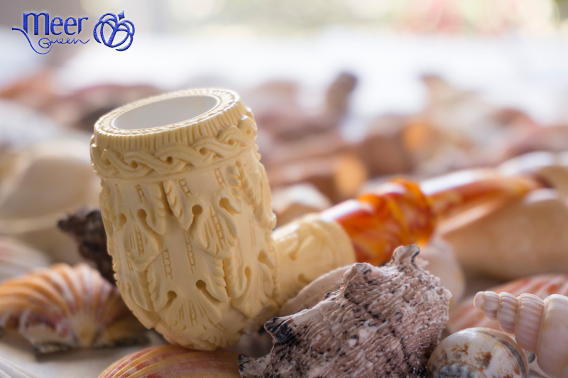 Floral Block Meerschaum Pipe by Medet -Double Stem |Golden Series