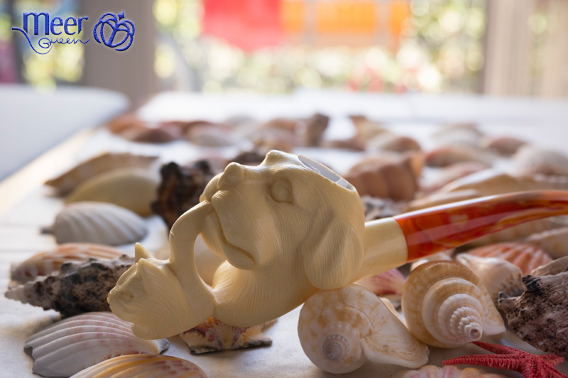 Dog Block Meerschaum Pipe |Golden Series