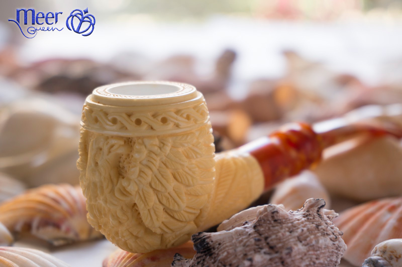 Embossed Eagle Block Meerschaum Pipe by Medet -Double Stem |Golden Series