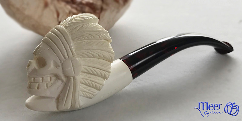 Skull Indian Block Meerschaum Pipe by Savran |Golden Series