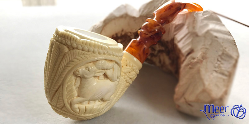 Embossed Deer Block Meerschaum Pipe by Salim |Golden Series