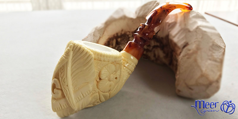 Masonic Logo Block Meerschaum Pipe by Salim |Golden Series