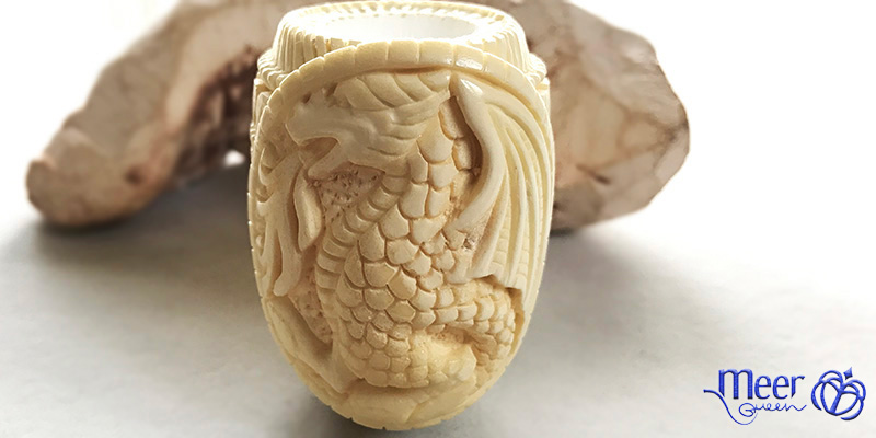 Embossed Dragon Block Meerschaum Pipe by Salim |Golden Series