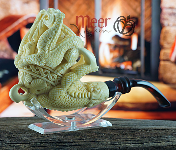 Double Dragon with Claw Block Meerschaum Pipe|Double Stem