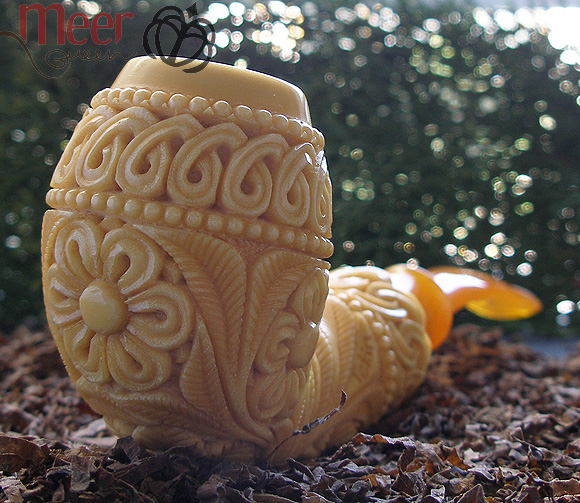 Floral Block Meerschaum Pipe by Tekin|DIAMOND SERIES