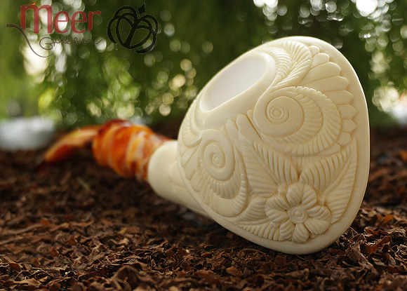 Floral Baret Block Meerschaum Pipe by Emin |GOLDEN SERIES