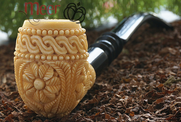 Churchwarden Floral Block Meerschaum Pipe | Double stem