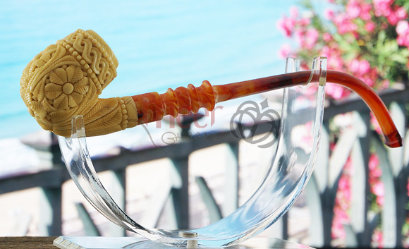 Floral Block Meerschaum Pipe by Tekin|Churchwarden Stem |DIAMOND SERIES