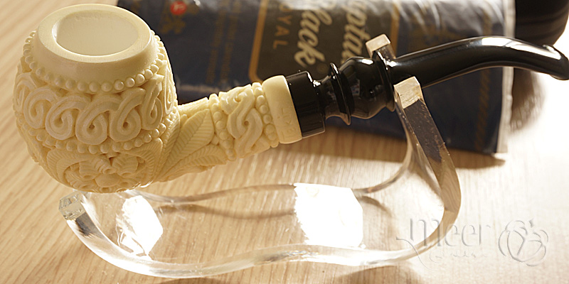 Floral Block Meerschaum Pipe by Tekin |DIAMOND SERIES