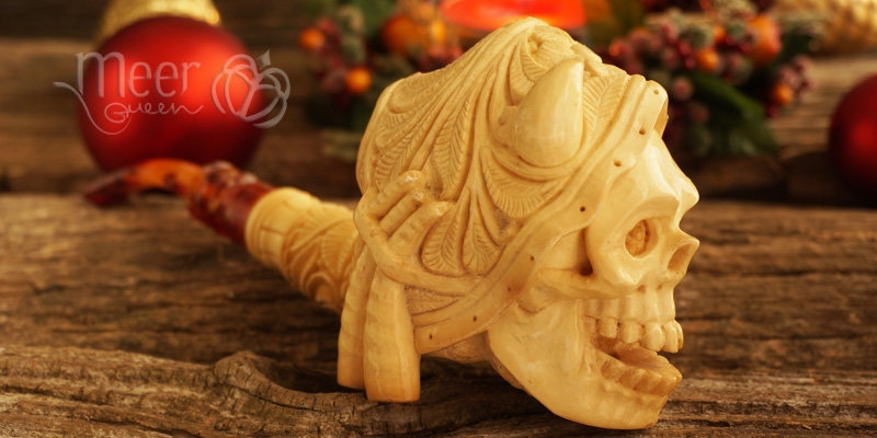 Antique looking Skull Meerschaum Pipe by Salim