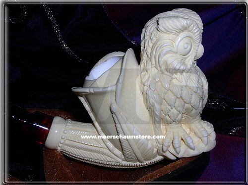 Owl Block Meerschaum Pipe |DIAMOND SERIES
